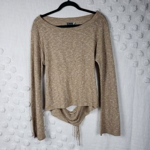 Earthbound Trading co. Tan Cutout Sweater large